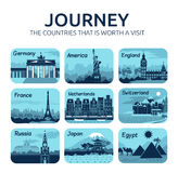 Set of flat travel icons with different countries. Set of flat travel icons with different countries of the world. Travel and turism Royalty Free Stock Image