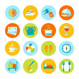 Set of flat  travel and tourism icons. Colored circle icons collection Royalty Free Stock Images