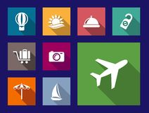 Set of flat travel and vacation icons Stock Photo