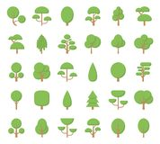 Flat trees icons. Set Flat Trees in a Flat Design. Isolated on White Background. Vector Icons Royalty Free Stock Images