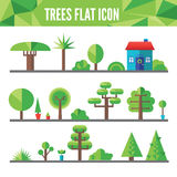 Set of flat trees and grass Stock Image