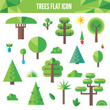 Set of flat trees and grass including pine and deciduous trees Stock Photos
