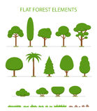 Set of flat trees icon. Royalty Free Stock Photography
