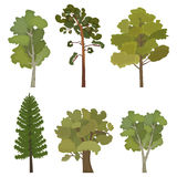 Set of flat trees for infographics. In  format eps10 Stock Photo