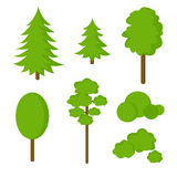 Set of   flat  trees Stock Images