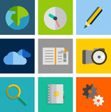 Set of flat universal icons Stock Image