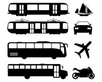 Set of flat urban transport icon. Silhouette Vector illustration Royalty Free Stock Photography
