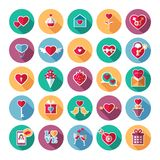 Set of flat valentines day icons. Vector illustration royalty free illustration