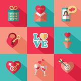 Set of flat valentines day icons Royalty Free Stock Images