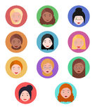 Set flat various portraits of the women Royalty Free Stock Photo