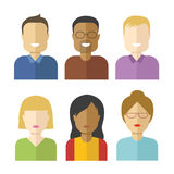 Set of flat vector avatars isolated on white background.  Royalty Free Stock Photography