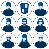 Set of flat vector avatars for the security agency vector illustration