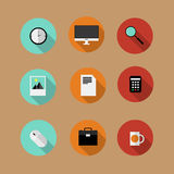 Set of flat vector bussines icons. Office concept wit shadows Royalty Free Stock Image