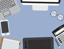 Set of Flat vector design illustration of modern business office. And workspace. Top view of desk background with laptop, digital devices, office objects Royalty Free Stock Images