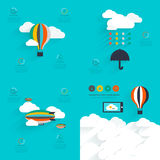 Set of flat vector design of the startup process, cloud storage,. Responsive web design, hot air balloon, creative cloud Stock Image