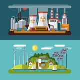 Set of flat vector ecology concept illustrations Stock Photography