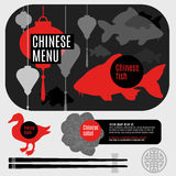 Set of flat vector elements for chinese restaurant Stock Photography