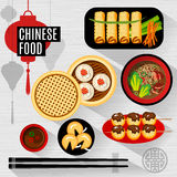 Set of flat vector elements for chinese restaurant Royalty Free Stock Images
