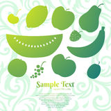 Set of flat vector fruits Stock Images