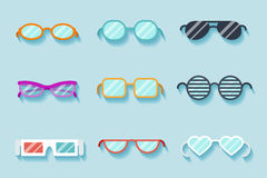 Set of flat vector glasses Stock Photo