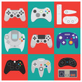 Set of flat vector high quality gamepads Royalty Free Stock Images