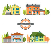 Set of flat vector houses. Set of flat vector houses on white background. Single-Family Home. Modern residential architecture stock illustration