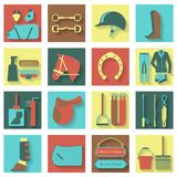 Set of horse equipment icons Stock Images
