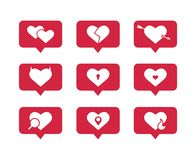 Set of flat vector icons of hearts stock illustration