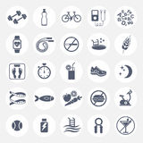 Set of flat vector icons with tips for losing weight. Sport, diet and healthy lifestyle. Gym, workout, exercises, training. Vector illustration Royalty Free Stock Photos