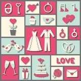 Set of flat vector icons for wedding or Valentine's day Royalty Free Stock Photography