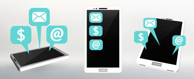 Set Flat vector illustration of modern Mobile phone with different icons. Stock Images