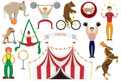 A set of flat vector illustrations of circus artists. stock illustration