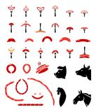 Set of flat vector meat and sausage icons. Sausage, grilled, with fork colorful icons set Stock Photography