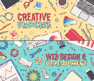 Set flat vector office creative process web design. Set of flat vector design illustrations of modern business office and workspace. Concept illustrations for Royalty Free Stock Images