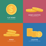 Set flat vector pile of coins logos with colorful background and space for text Royalty Free Stock Photos
