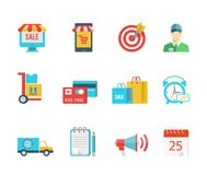 Set of flat vector purchase and delivery icons. With a sale sign  store  trolley  salesman  delivery  credit card  bags  24-hour  van or truck  delivery notice Royalty Free Stock Images