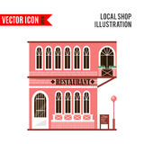 Set of flat vector shop building facades icons Stock Images