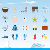 Set of flat vector travel and tourism icons Royalty Free Stock Image