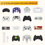 Set of flat vector video game controllers Royalty Free Stock Image