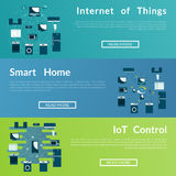 Set of flat vector web banners . IOT. Smart Home. Stock Images