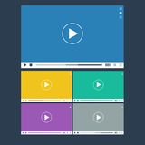 Set of flat video player for web and mobile apps Royalty Free Stock Images
