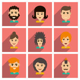 Set of flat web icons with long shadow haircut Royalty Free Stock Images