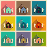Set of flat web icons with long shadow house in forest Stock Image
