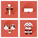 Set of flat web icons with long shadow Valentine's Day Royalty Free Stock Photography