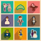 Set of flat web icons with long shadow wedding Royalty Free Stock Photo