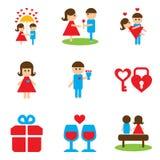 Set of flat web icons on white background Valentine's Day. Set of flat  web icons on white background Valentine's Day Stock Images