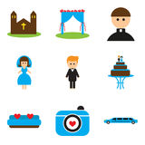Set of flat web icons on white background wedding. Set of flat  web icons on white background wedding Stock Images