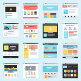 Set of Flat Website Templates Royalty Free Stock Images