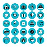 Set of flat wedding icons. Vector illustration, flat style. Vector illustration, flat style Royalty Free Stock Photo