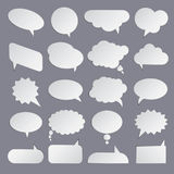 Set of flat white bubbles for speech. Elements for design Stock Image